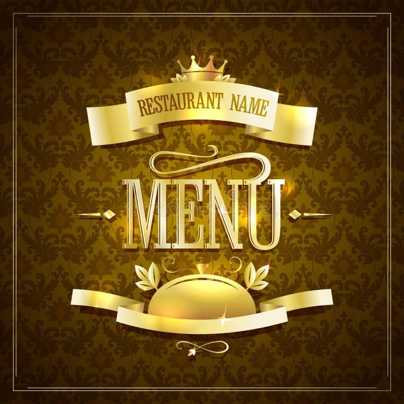 Design för meny för tappningstilrestaurang med guld- band mot den bruna bakgrunden royaltyfri illustrationer