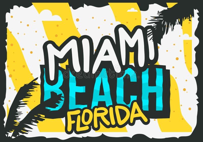 Design för Miami Beach Florida sommaraffisch med palmbladillustrationen vektor illustrationer