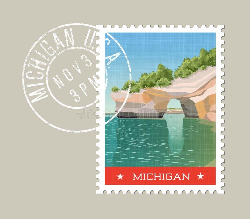 Design för Michigan portostämpel också vektor för coreldrawillustration royaltyfri illustrationer