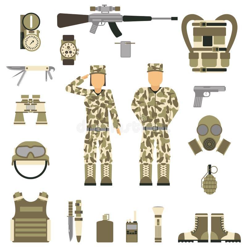 Design för militära symboler med vapnet och likformign vektor royaltyfri illustrationer