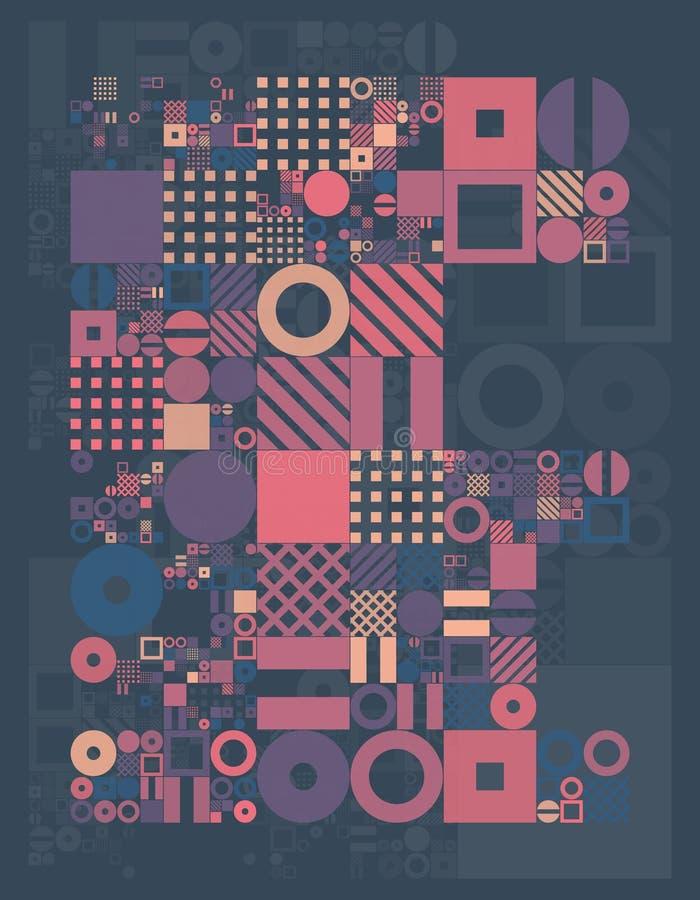Design för minsta räkningar för vektor procedurmässig Futuristisk minimalistic orientering Begreppsmässig generativ bakgrund Tids vektor illustrationer