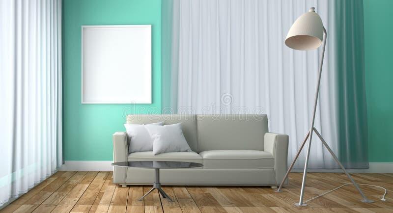 Design för mintkaramellvardagsruminre - grön mintkaramellstil med soffatabelllampan och ram, trägolv på grön mintkaramellväggbakg royaltyfri illustrationer