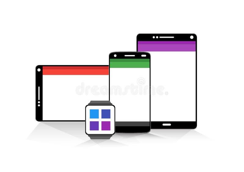 Design för mobil teknologi för vektorer materiell stock illustrationer