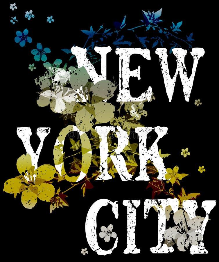 Design för mode för New York City typografiaffisch med blommor vektor illustrationer