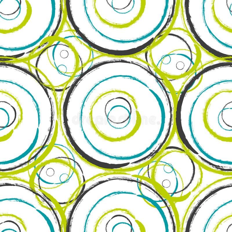 Design för modell för abstrakta grungy cirklar för vektor sömlös vektor illustrationer
