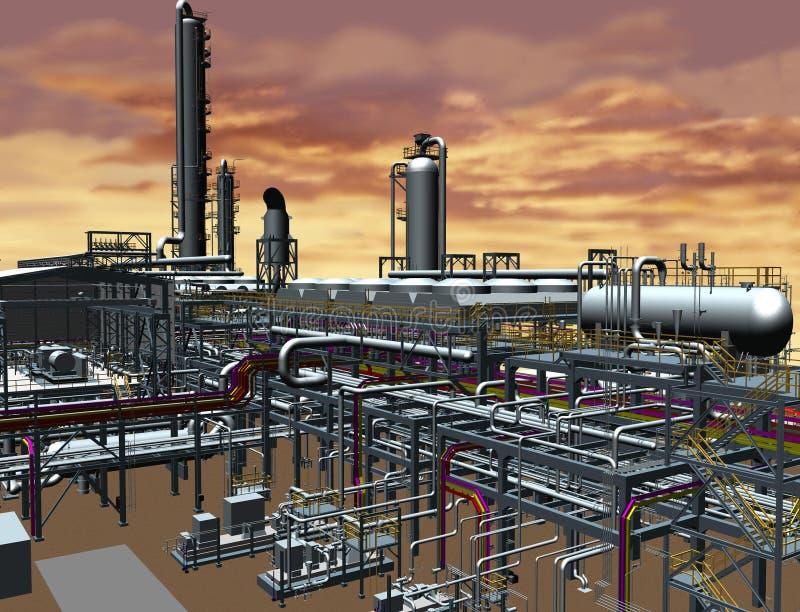 Design för modell för olja- & gasväxt 3D royaltyfria bilder