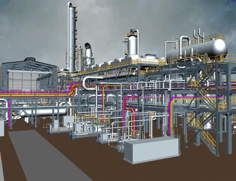Design för modell för olja- & gasväxt 3D arkivbilder