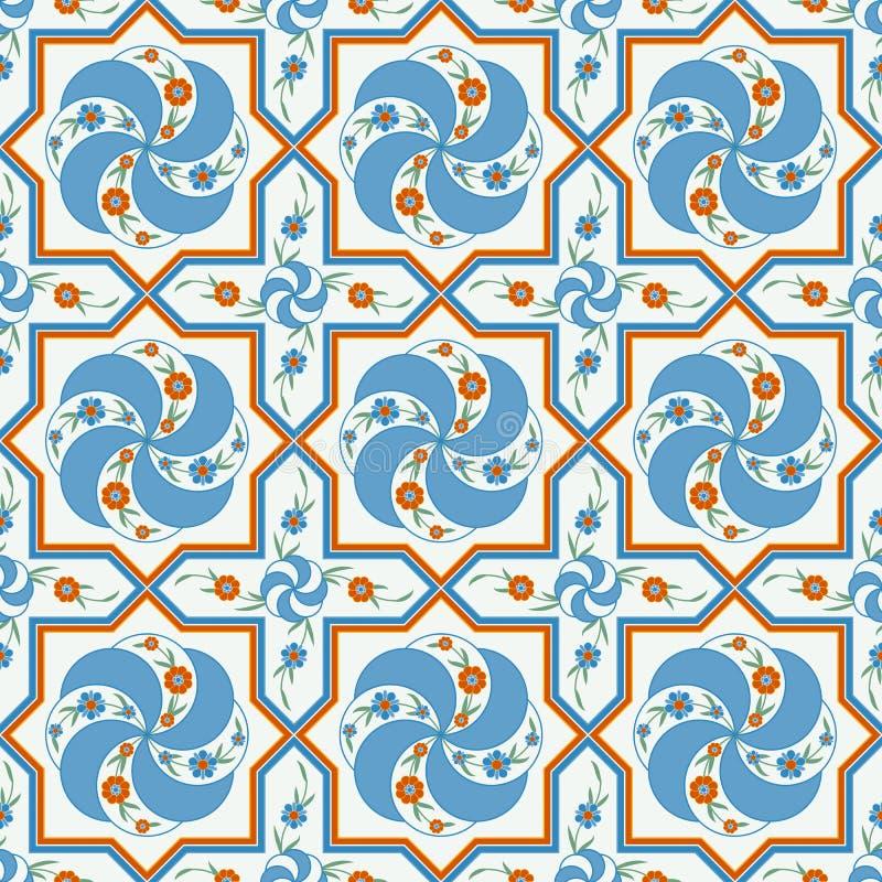 Design för modell för Seanless vektor traditionell färgrik blom- arabisk royaltyfri illustrationer