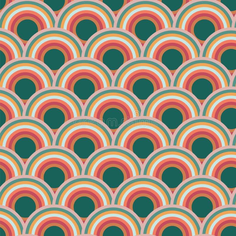 Design för modell för repetition för kammusslaskalacirkel sömlös royaltyfri illustrationer