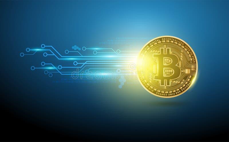Design för nätverk för teknologi Bitcoin för digital valuta futuristisk stock illustrationer