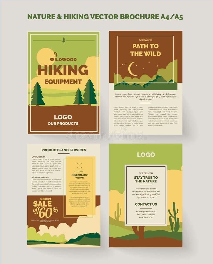 Design för natur och utomhus broschyr- och reklamblad royaltyfri illustrationer