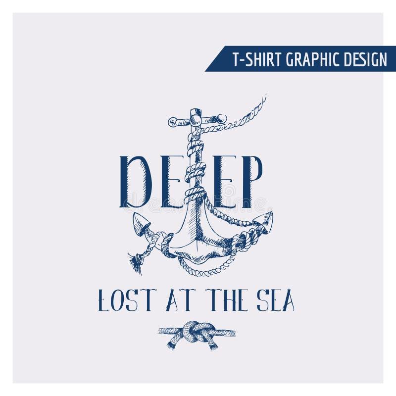 Design för nautiskt ankare för T-tröja grafisk royaltyfri illustrationer