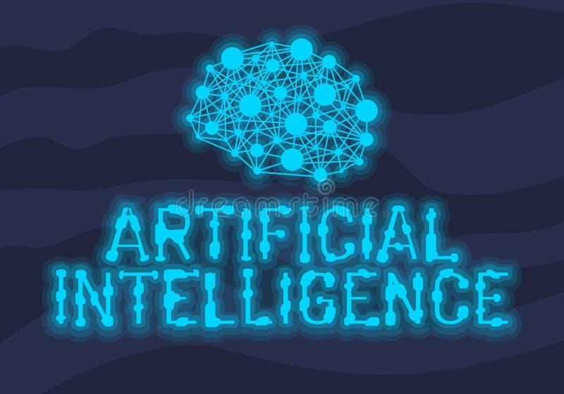 Design för neon för konstgjord intelligens Themed ljus med det konstgjorda nerv- nätverket och människan Brain Concept Illustrati royaltyfri illustrationer