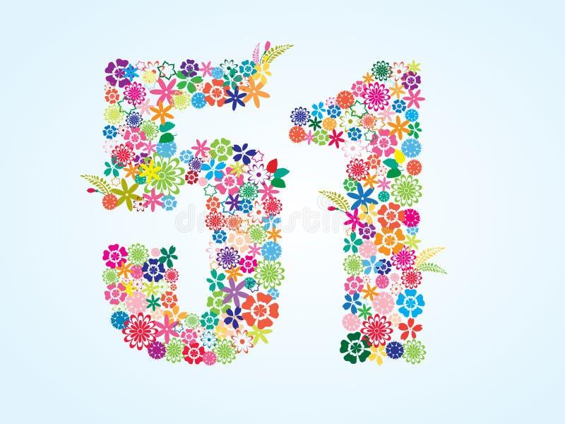 Design för 51 nummer för vektor som färgrik blom- isoleras på vit bakgrund Blom- nummer femtio en stilsort stock illustrationer