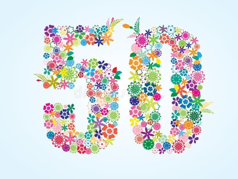 Design för 50 nummer för vektor som färgrik blom- isoleras på vit bakgrund Blom- stilsort för nummer femtio royaltyfri illustrationer
