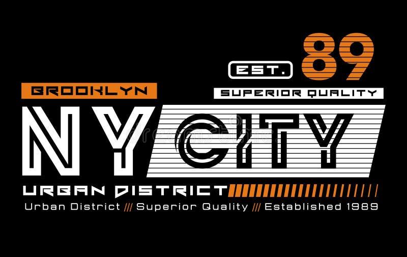 Design för NY-stadsBrooklyn idrotts- typografi för t-skjortor och annat bruk Vektorbildillustratör royaltyfri illustrationer