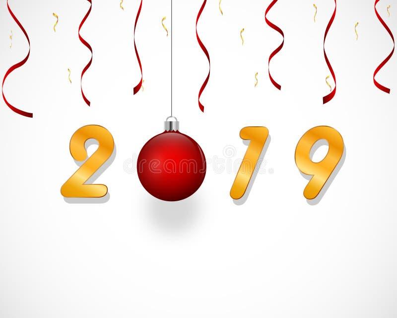 Design för nytt år med den röda bollen för julträd och band, confettis, guld- text 2019 royaltyfri illustrationer