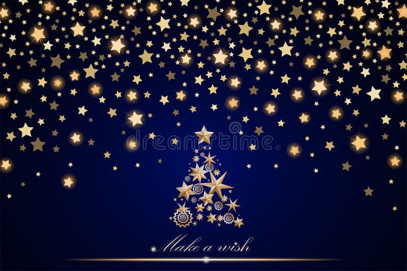 Design för nytt år och julkort: guld- julgran som göras av stjärnor och snöflingor med abstrakta skinande fallande stjärnor royaltyfri illustrationer