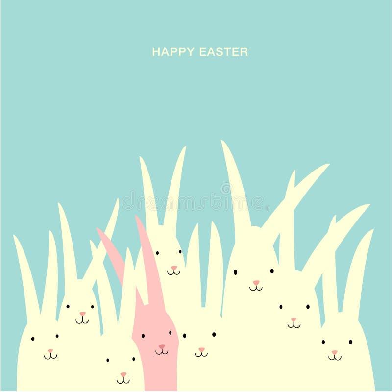 Design för påskhälsningkort med den stora gruppen av kaniner vektor illustrationer