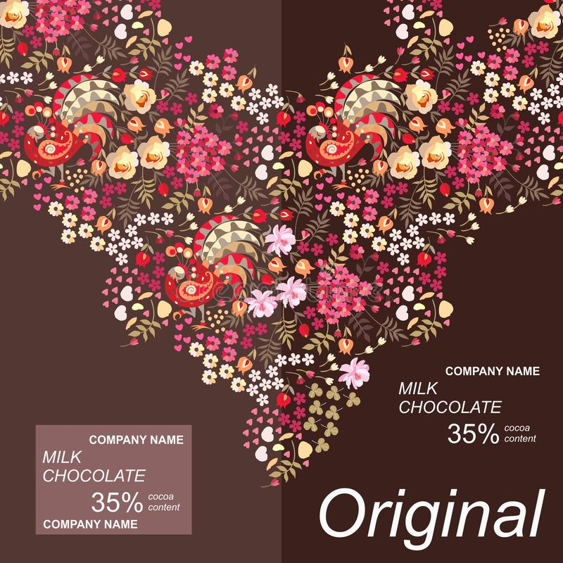 Design för packe för chokladstång med den ljusa naturliga prydnaden i etnisk stil med felika fåglar, sidor och blommor stock illustrationer