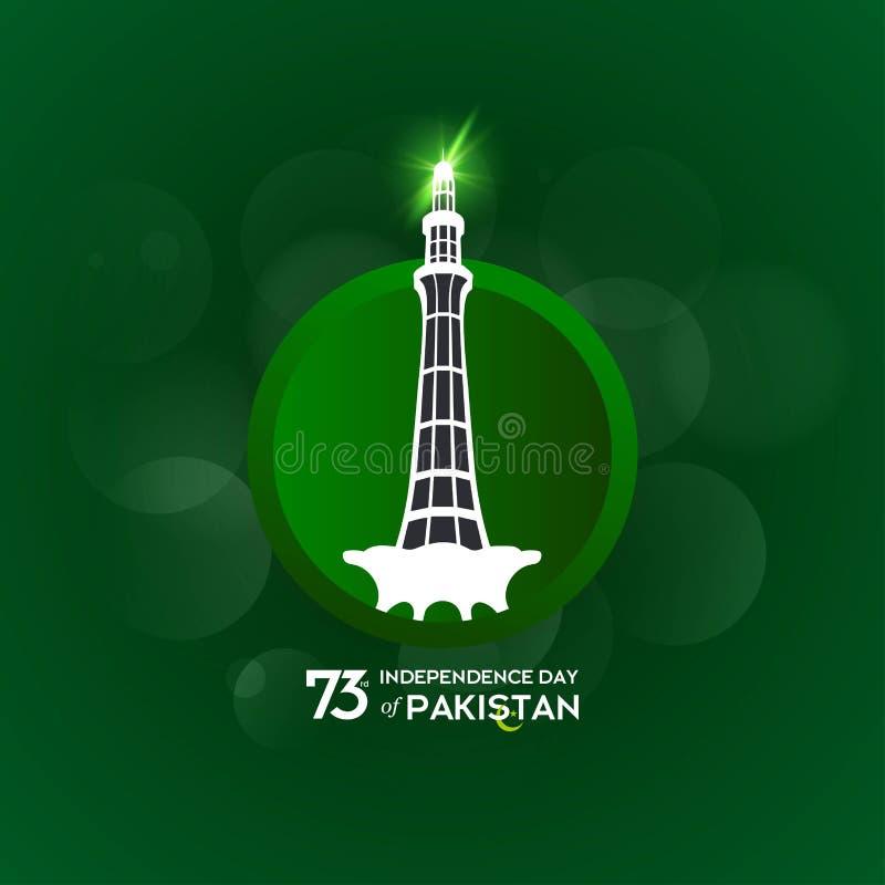Design för Pakistan självständighetsdagentypografi Idérik typografi av för vektormall för 73rd lyckliga självständighetsdagen den stock illustrationer