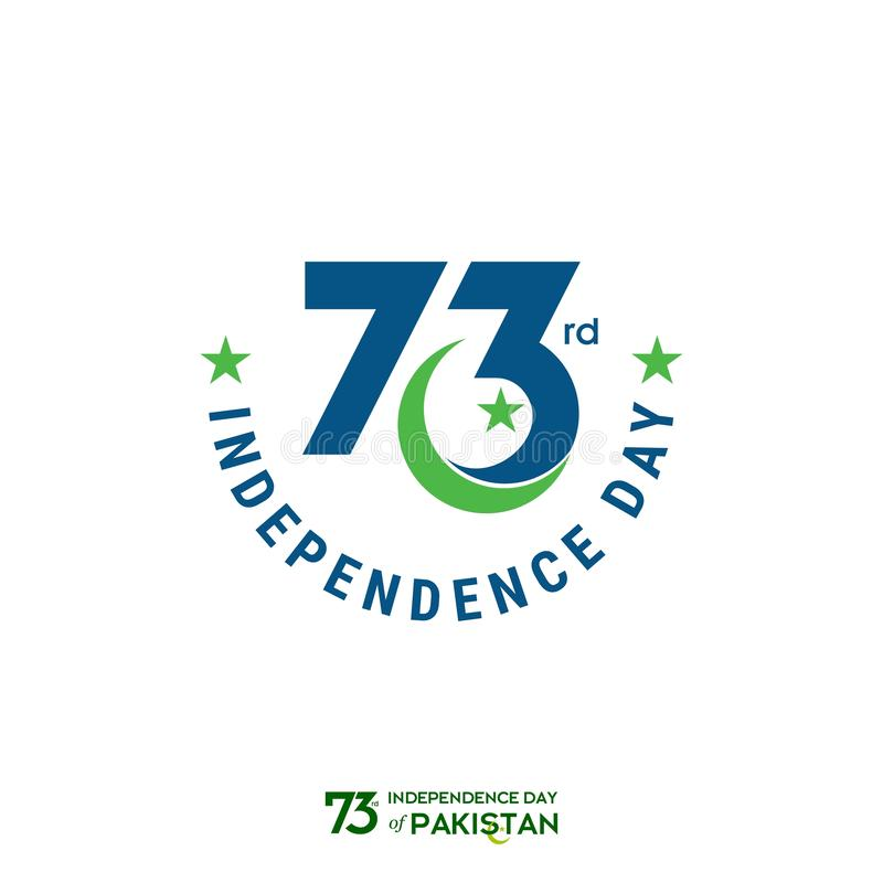 Design för Pakistan självständighetsdagentypografi Idérik typografi av för vektormall för 73rd lyckliga självständighetsdagen den vektor illustrationer