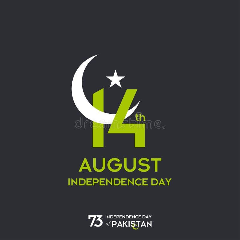 Design för Pakistan självständighetsdagentypografi Idérik typografi av för vektormall för 73rd lyckliga självständighetsdagen den royaltyfri illustrationer