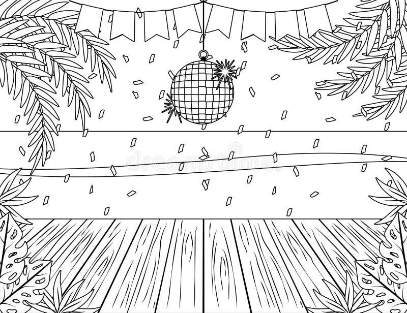 Design för för palmträdträhav och parti royaltyfri illustrationer