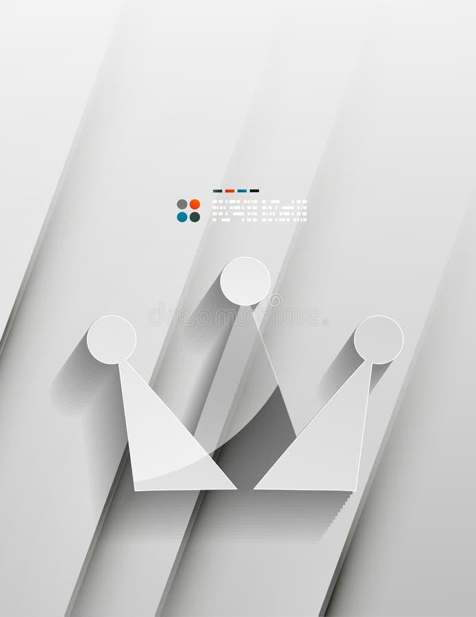 Design för papper för vektorkrona 3d vektor illustrationer