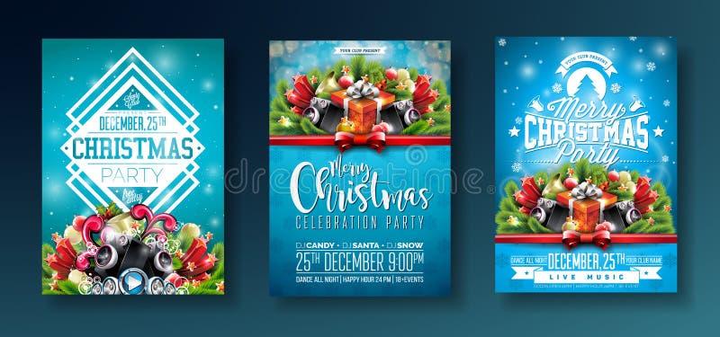 Design för parti för glad jul för vektor med ferietypografibeståndsdelar och högtalare på skinande blå bakgrund Beröm stock illustrationer