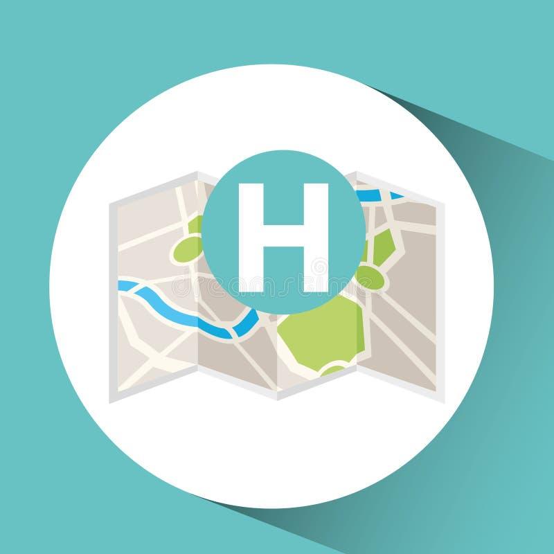 Design för pekare för hotellöversiktsstift stock illustrationer
