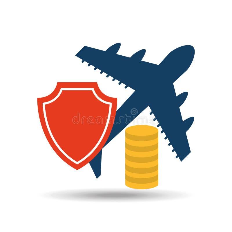 design för pengar för försäkringflygplanflygplats vektor illustrationer