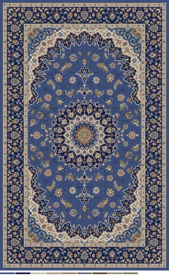 Design för persisk matta som redigeras i blå beiga- och mörkermarin med gränsen vektor illustrationer