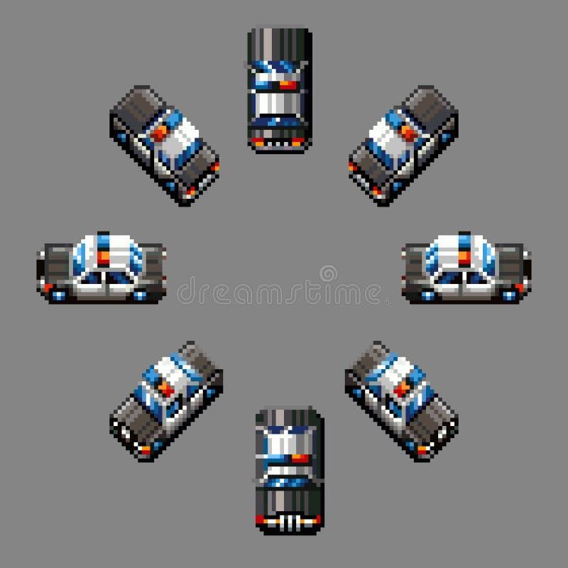 Design för PIXEL för riktningar för polisbil åtta retro royaltyfri illustrationer