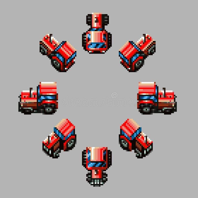Design för PIXEL för riktningar för traktor åtta retro stock illustrationer