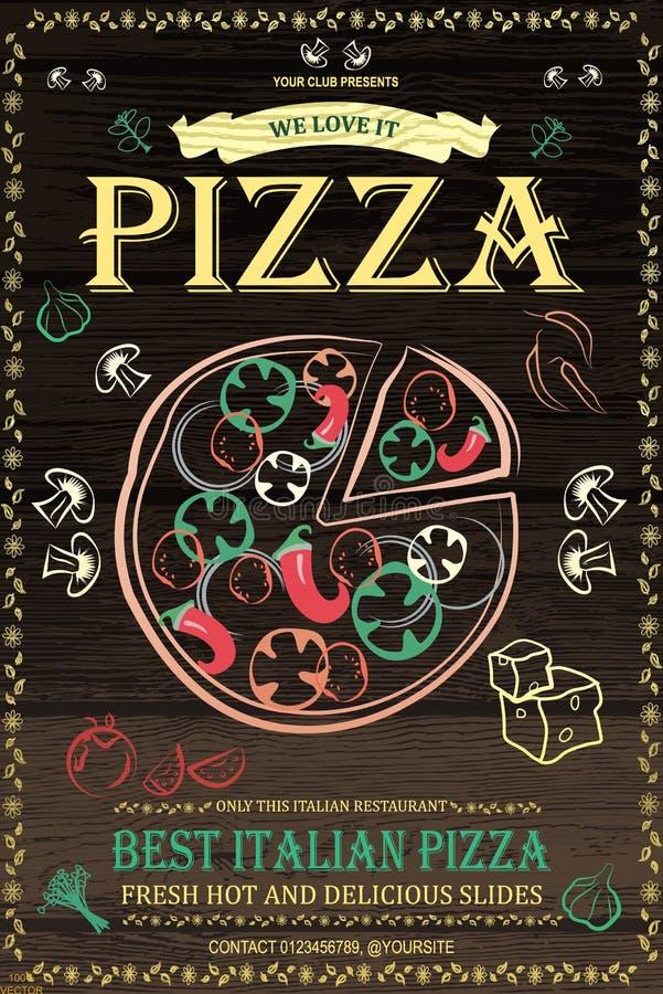 Design för för pizzeriamenyaffisch eller reklamblad med matsymboler royaltyfri illustrationer