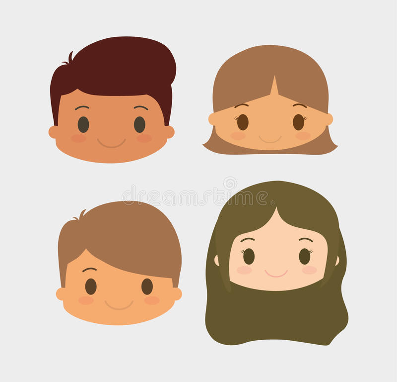 Design för pojke- och flickaungetecknad film stock illustrationer