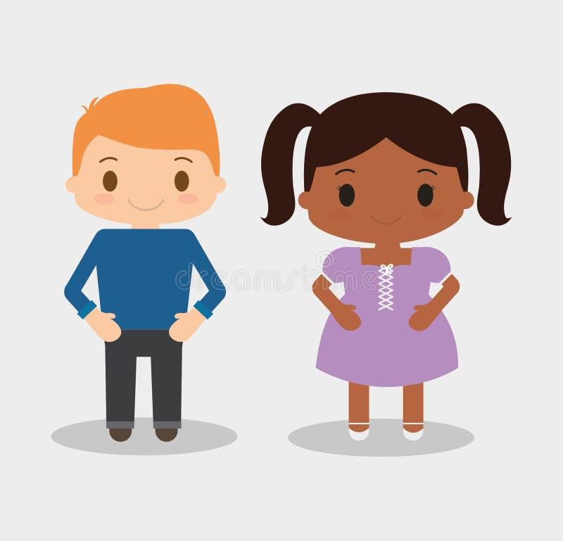 Design för pojke- och flickaungetecknad film royaltyfri illustrationer