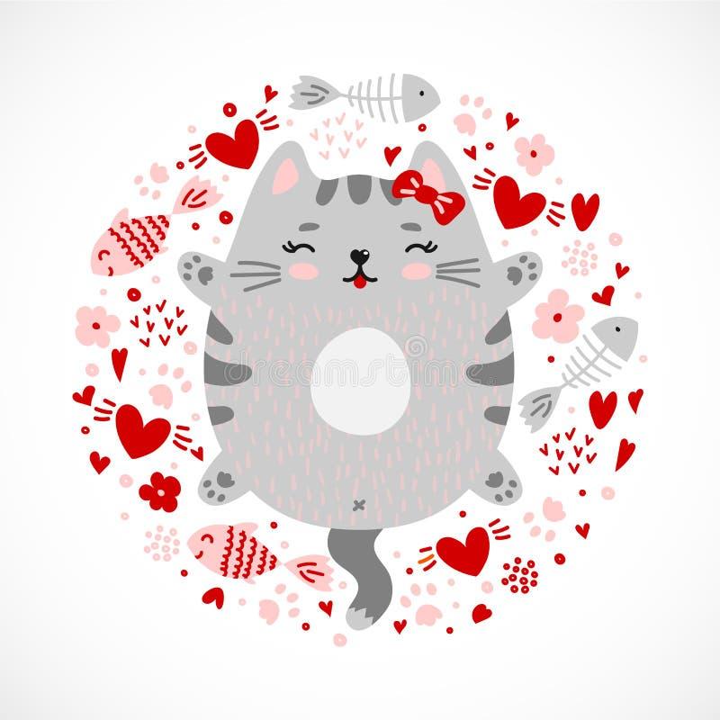 Design för pott för rolig klottersmiley grå stock illustrationer