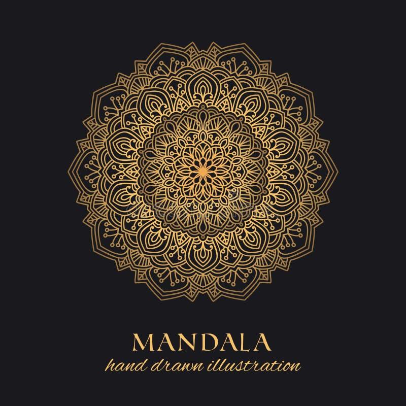 Design för prydnad för Mandalavektorrunda lyxig Guld- etnisk beståndsdel royaltyfri illustrationer