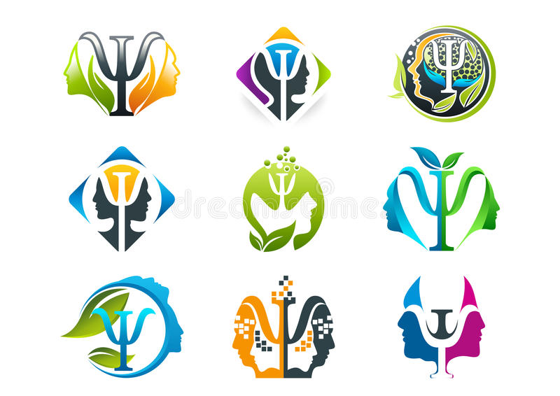 Design för psykologibegreppslogo stock illustrationer