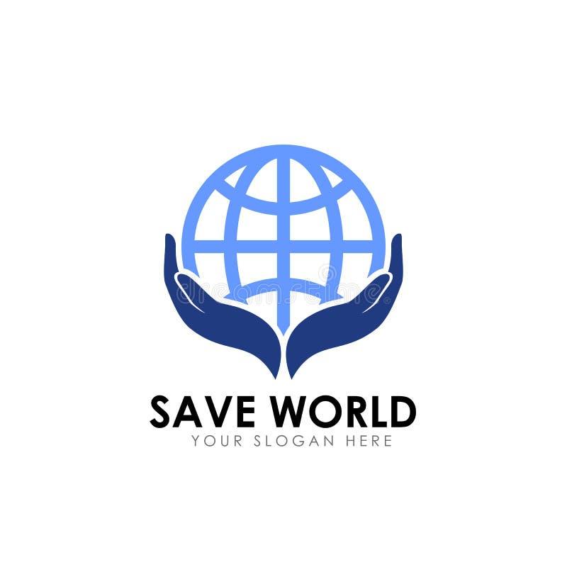 Design för räddningvärldslogo mall för design för jordomsorglogo royaltyfri illustrationer