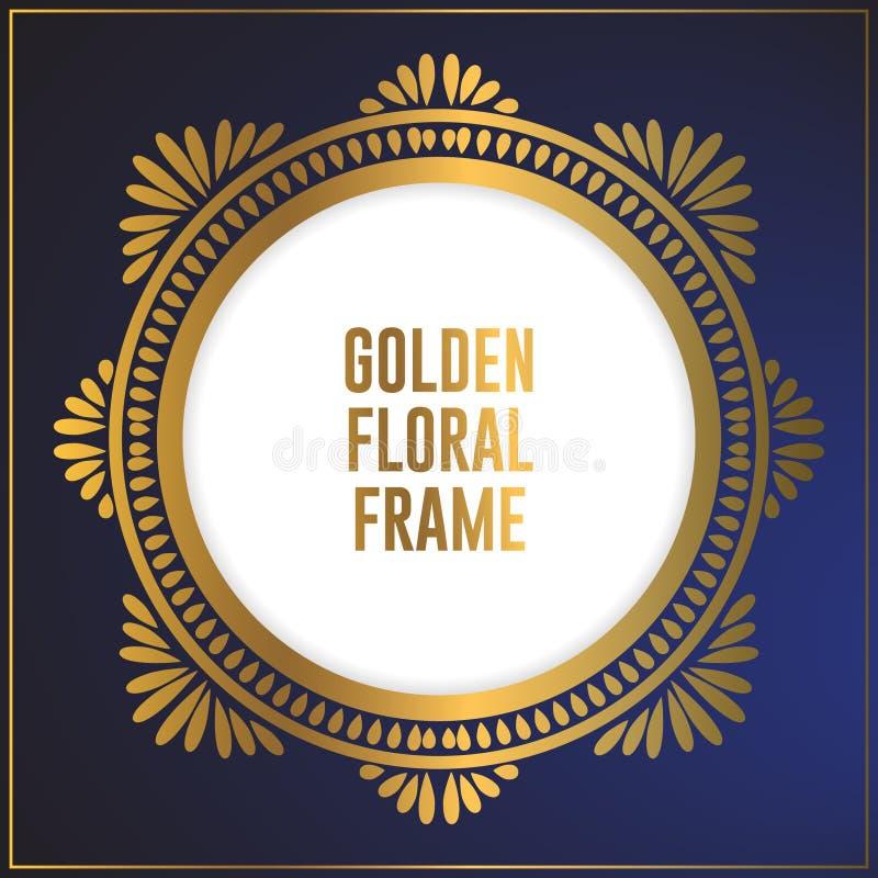 Design för ram för blom- prydnad för lyxig cirkel guld- Guld- rambakgrundsdesign med den lyxiga blom- prydnaden royaltyfri illustrationer