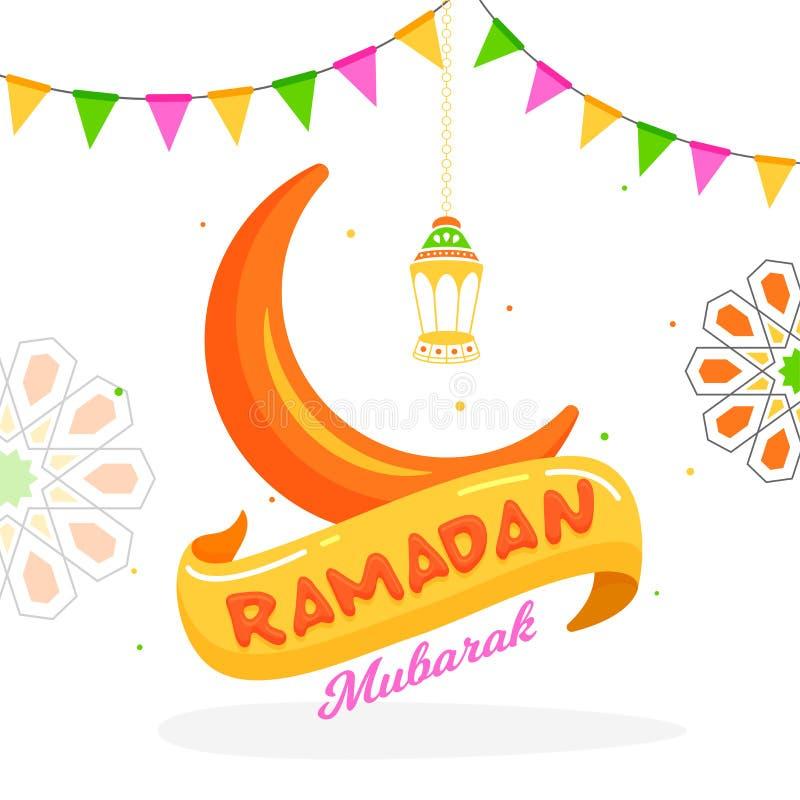Design för Ramadan Mubarak hälsningkort med illustrationen av den växande månen och den hängande lyktan på vit bakgrund som dekor royaltyfri illustrationer