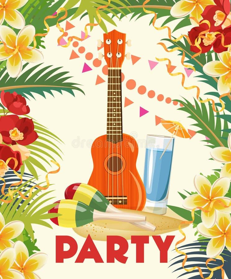 Design för reklamblad för parti för vektorsommarstrand med typografiska och musikbeståndsdelar på havlandskapbakgrund vektor illustrationer
