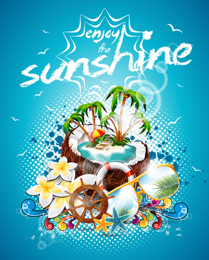Design för reklamblad för vektorsommarferie med kokosnöten och paradisön. vektor illustrationer