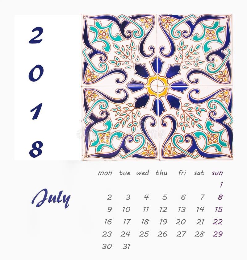 Design 2018 för reklamblad för mall för skrivbordkalender dekorativa tegelplattor royaltyfri illustrationer