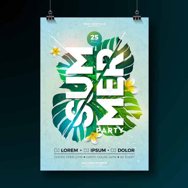 Design för reklamblad för parti för vektorsommarstrand med blomman och tropiska växter på blå bakgrund Blom- beståndsdelar för so royaltyfri illustrationer