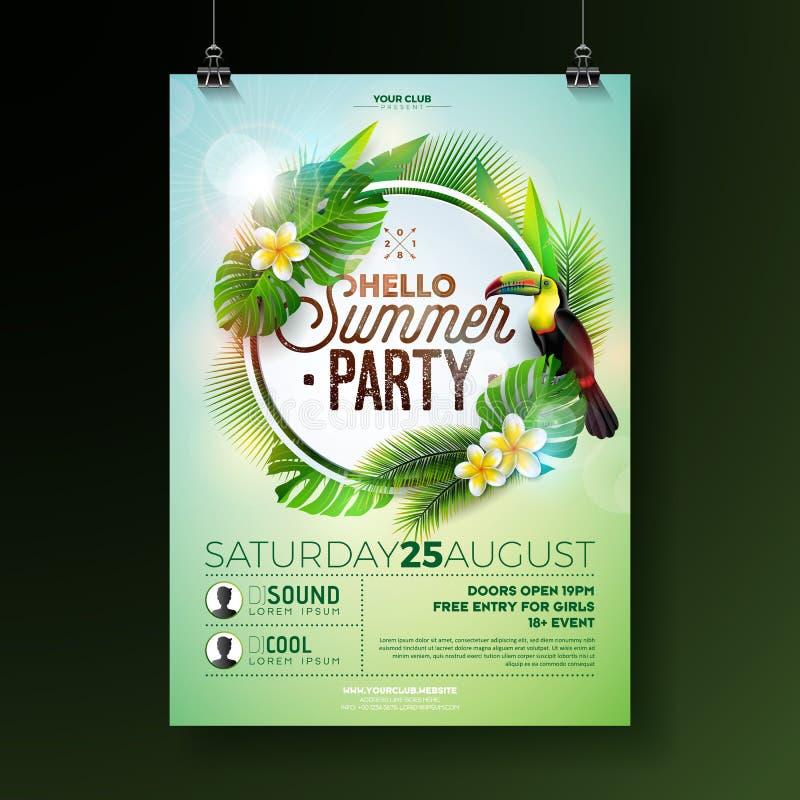 Design för reklamblad för parti för vektorsommarstrand med blommatukan på exotisk bladbakgrund Blom- beståndsdelar för sommarnatu stock illustrationer