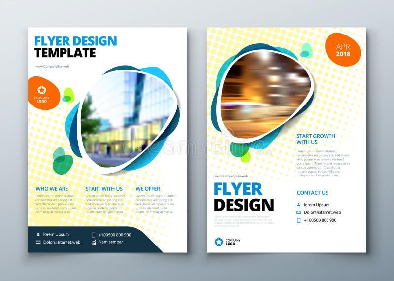 Design för reklambladmallorientering Affärsreklamblad-, broschyr-, tidskrift- eller flygbladmodell i ljusa färger vektor vektor illustrationer